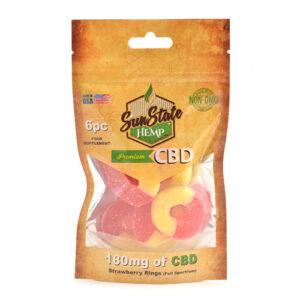 Strawberry Banana Rings CBD Gummies Sun State 180mg 6pc Bag Shop Online Scotland UK