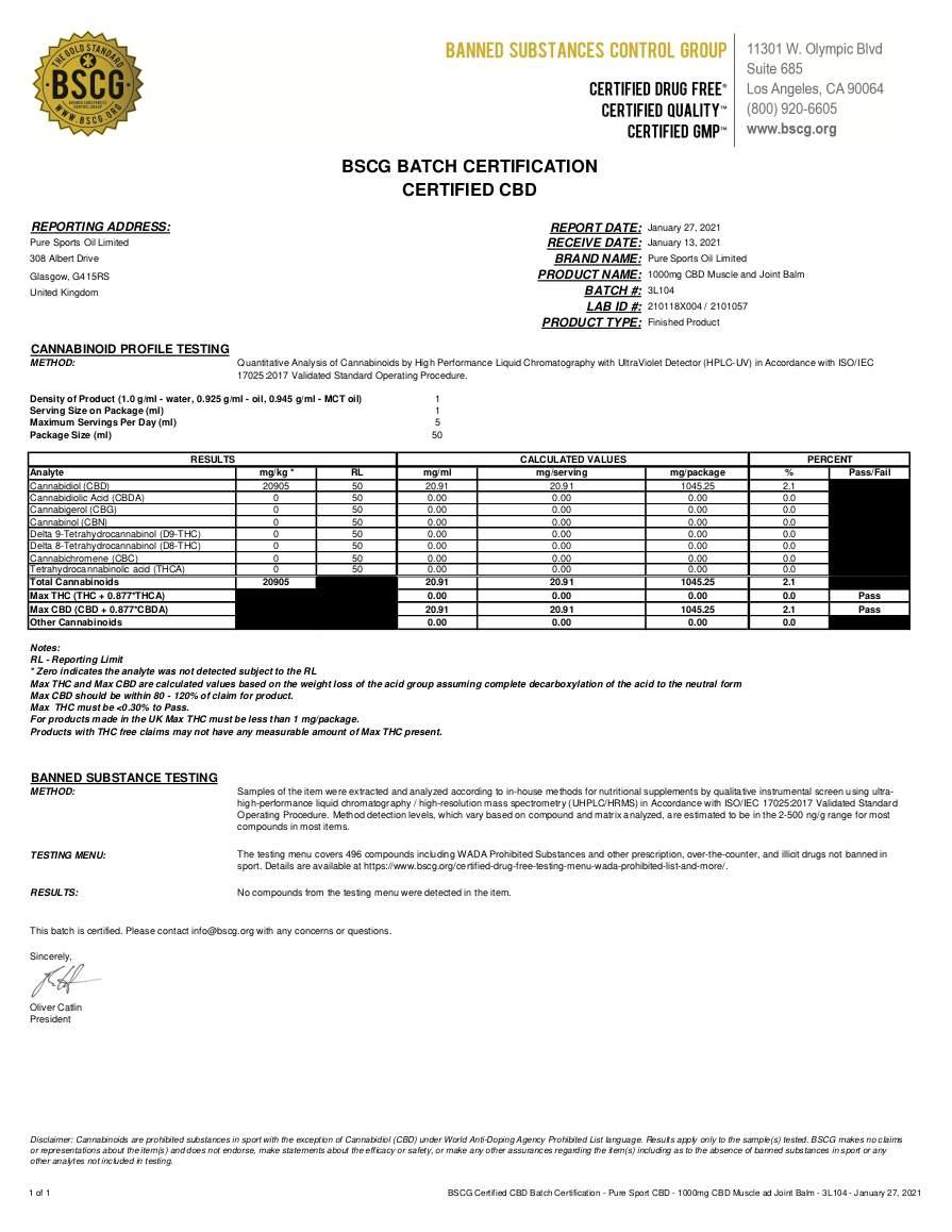 Pure Sport CBD - 1000mg CBD Muscle and Joint Balm